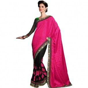 #Designer Suit #Party Wear Saree Shop now : http://www.valehri.com/black-and-magenta-half-and-half-saree-1585