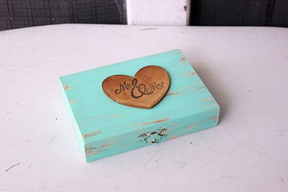 teal . tiffany blue ring bearer country rustic wedding pillow box  . wedding by montanasnow on Etsy
