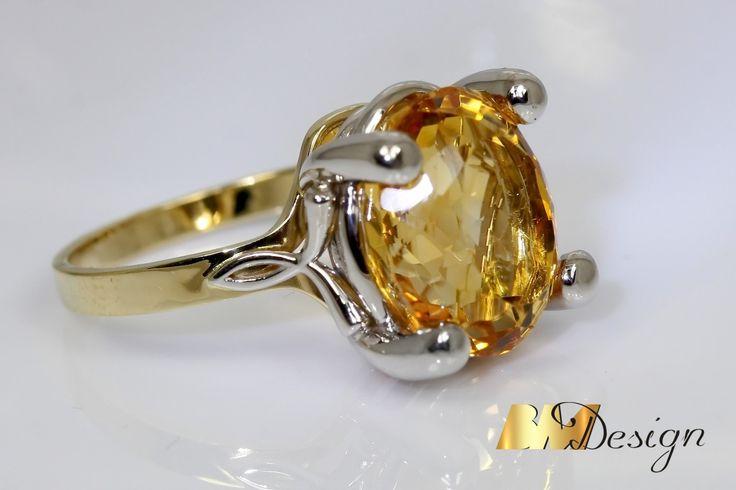 Piękny, zjawiskowy pierścionek z cytrynem. Projekt i wykonanie BM Design. Rzeszów Biżuteria na zamówienie, autorskie wzory, jubiler, złotnik, Pracownia Złotnicza BM
