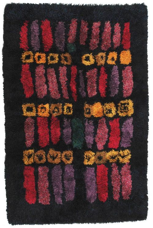 Arne Lindaas; Hand-Knotted Wool 'Guri' Rya Rug for Sellgren, 1966.
