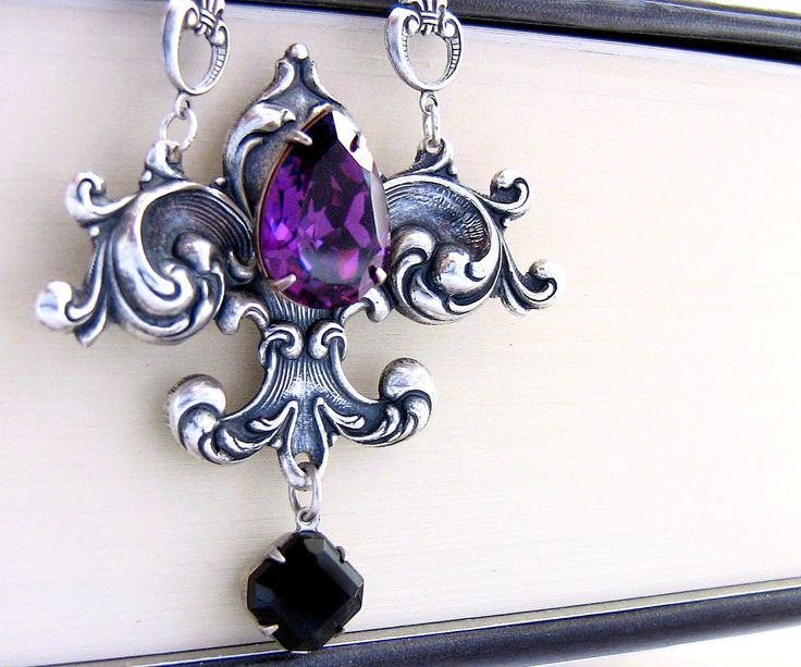 Crystal Jewel Necklace in Silver Purple Crystal Victorian Gothic Jewelry