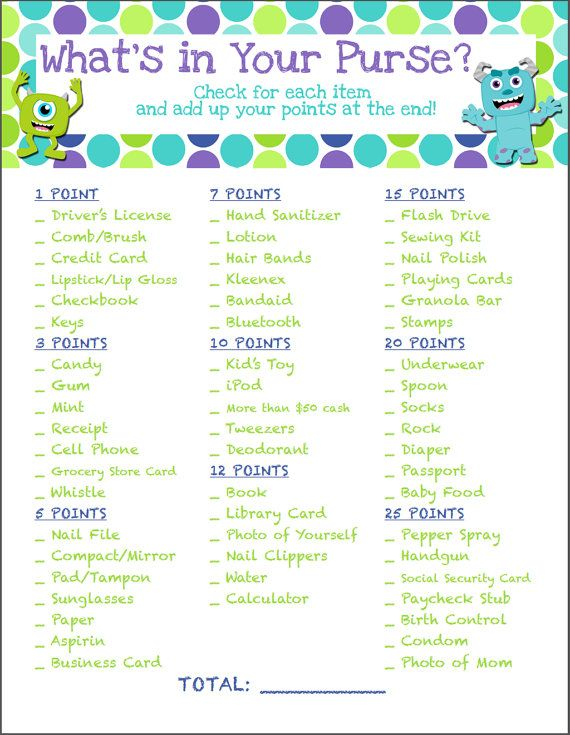 Monsters Inc Baby Shower Game What's in Your by JustAFavorbyJenna