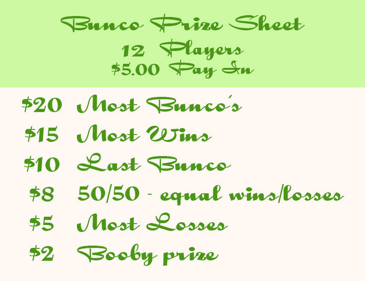 Reference for bunco prizes.