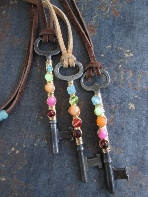 SALE Antique skeleton key colorful necklace  FREEDOM  multi