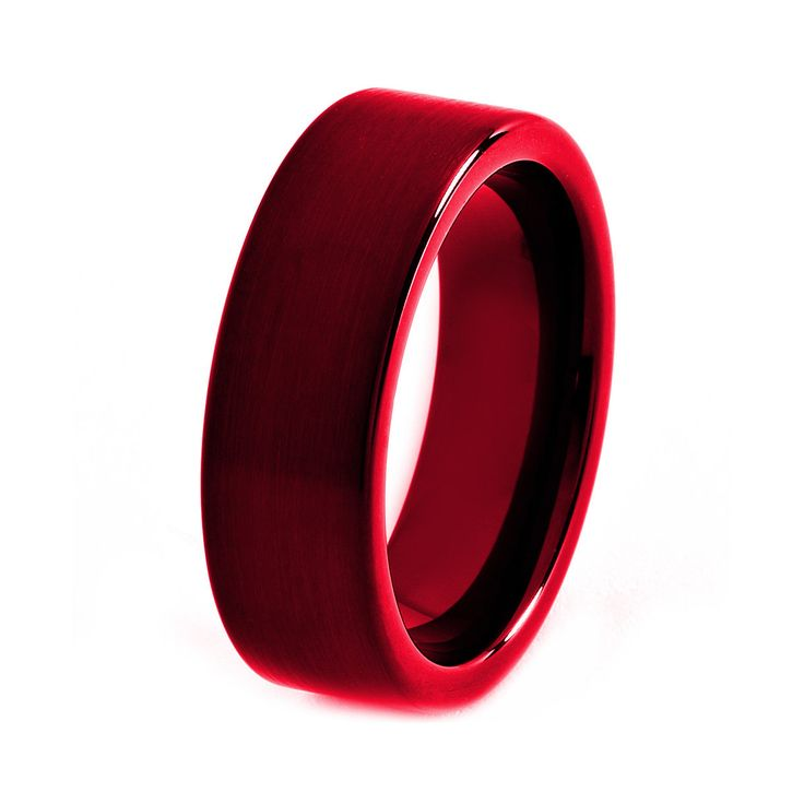 Black Tungsten Ring Red Men Tungsten Rings Red by GiftFlavors, $187.77