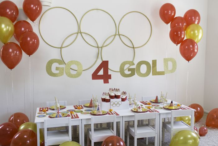 """Party table from a """"Go 4 Gold"""" Olympics Party on Kara's Party Ideas…"""
