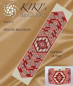 Pattern, peyote bracelet - Focus geometric peyote bracelet pattern in PDF instant download