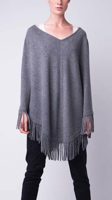 soft and cozy grey fringed poncho