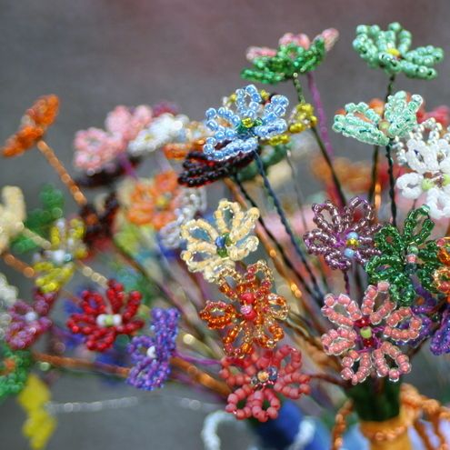 Colorful little beady flowers.