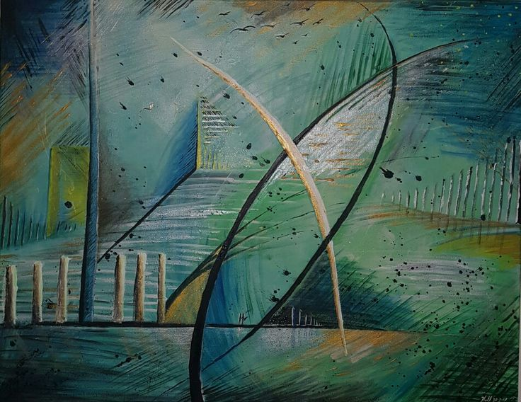 Hand made painting by N.v.Haren Gold Pearl Green and Blue