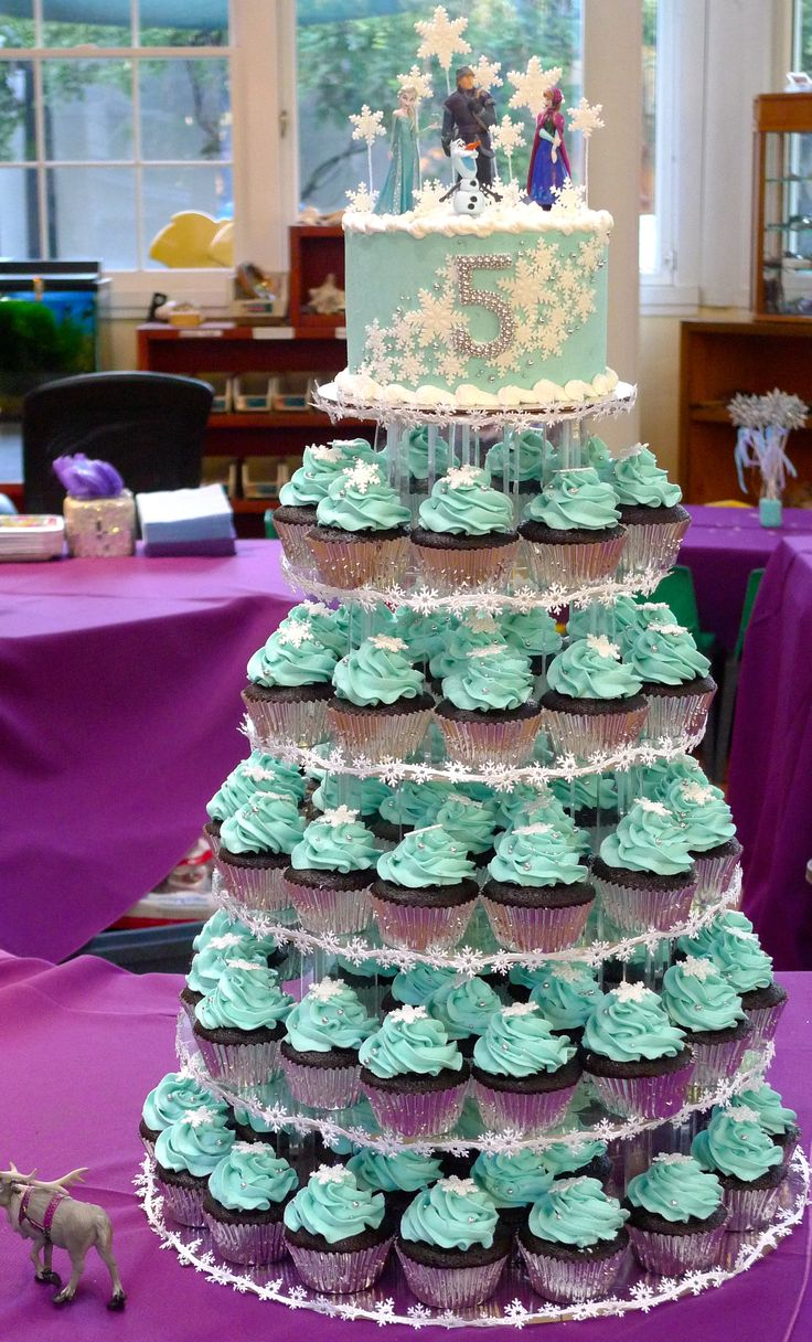 Vegan Frozen Birthday Party Cupcake Tower