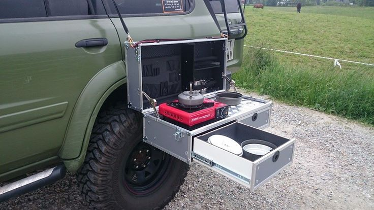 Hmmm, interesting idea for hanging a pullout camp kitchen on the side of your compact camping trailer