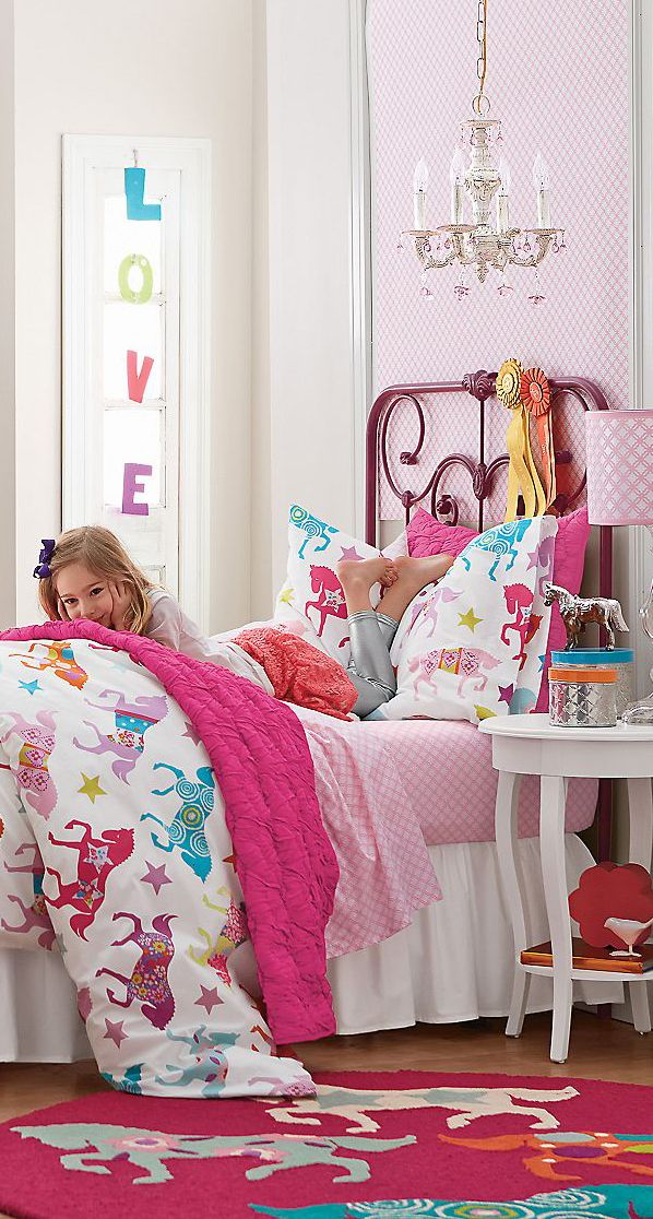Horse Show Comforter Collection. Pink and pretty this is a lovely subtle way to theme a room.