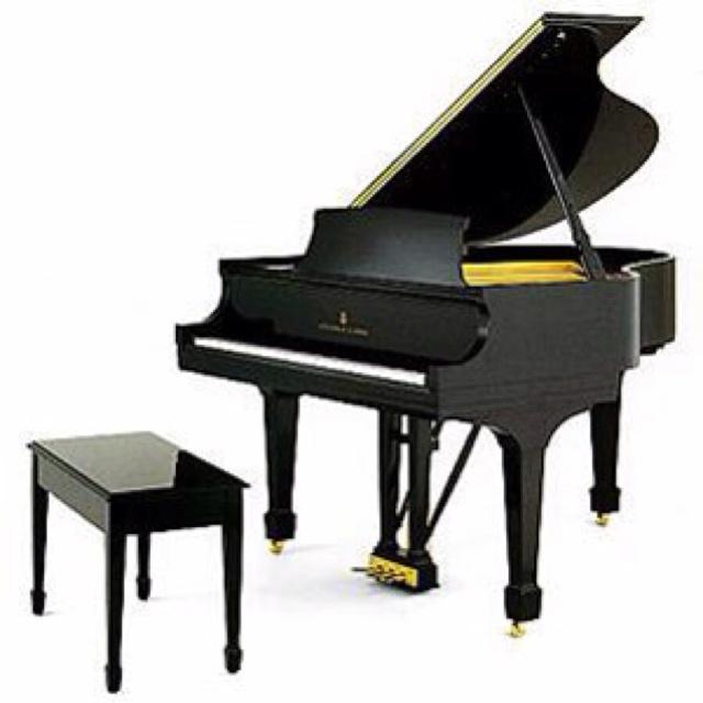 black baby grand piano.