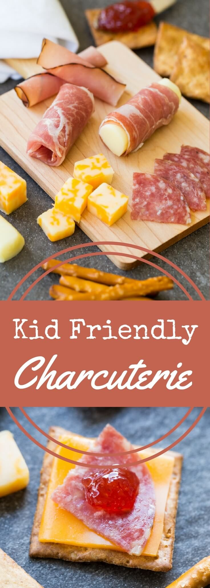 Pack a charcuterie plate in a lunch box with these kid-friendly options. Pair meats, cheeses, spreads, and crackers for your little one to enjoy. via @recipeforperfec @organicvalley #GetCheesy AD