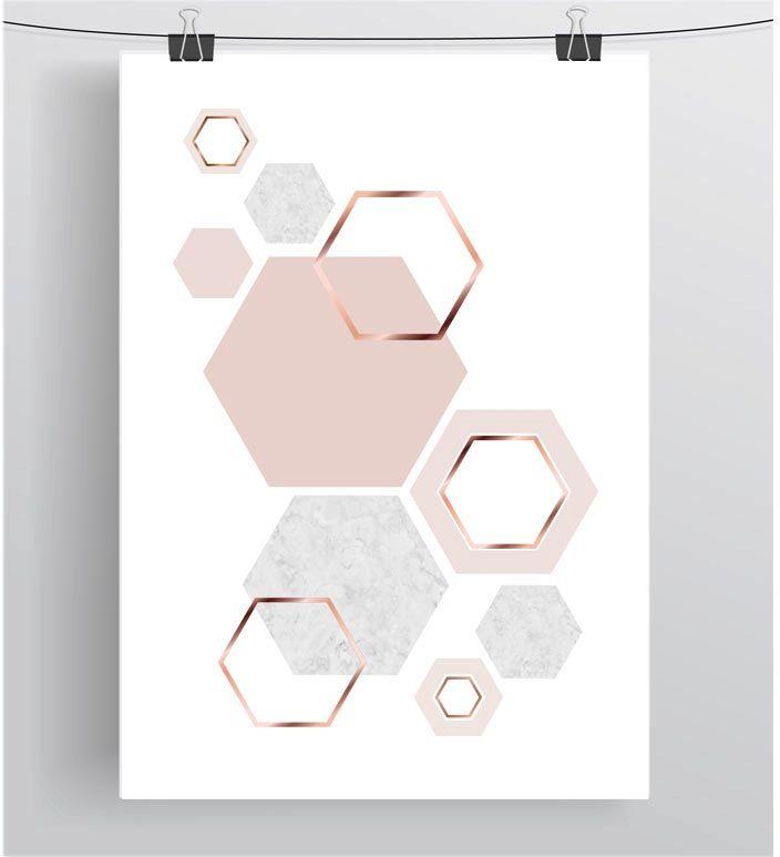 Hexagon Print Honeycomb Art Blush Print Copper от PrintAvenue