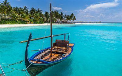 Scarica sfondi Isola tropicale, barca, Maldives, spiaggia, estate, vacanza