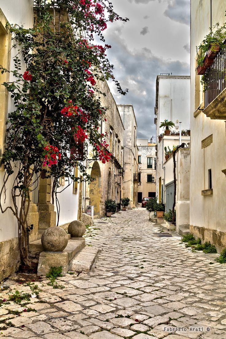 Otranto-beautiful street- rustic granite brisk - Italy