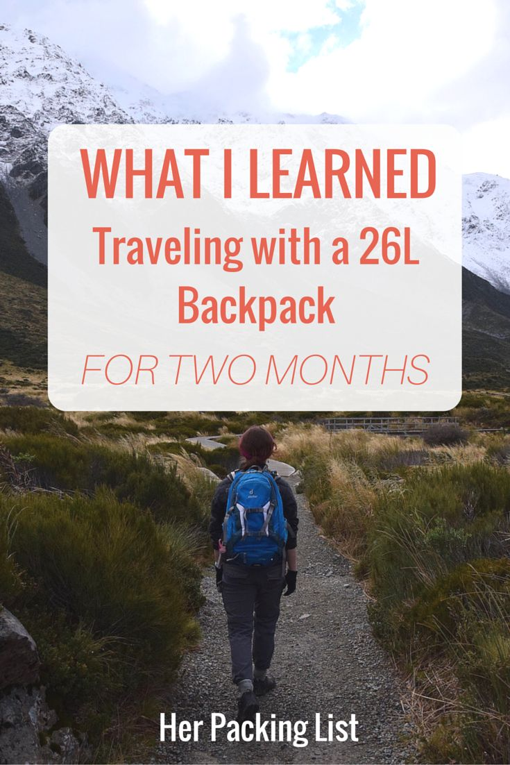 traveling with a 26l backpack for 2 months