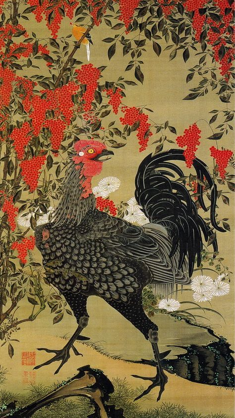 Ito Jakuchu 動植綵絵 Doshoku Sai-e Title:南天雄鶏図 Nanten Yukei-zu (Nandina and Rooster) c 1761-1765