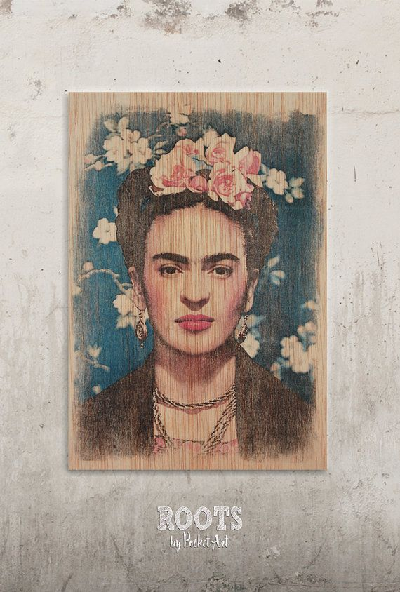 Frida Kahlo - Vogue // Transfer on wood
