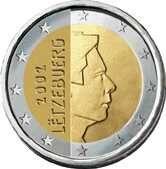 2 euro - Lussemburgo: effigie di Henri di Lussemburgo. Autore: Yvette Gastauer-Claire.