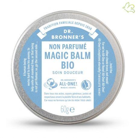 DR. BRONNER'S - Magic Balm Bio Non-Parfumé  Apaise et protège la peau.  Un soin intense pour nourrir la peau irritée et sèche. Il nourrit, apaise et protège des nouvelles agressions. Riche en cire d'abeille bio et d'huiles bio d'olive, d'avocat, de jojoba, de noix de coco et de chanvre. Boîte métallique 60gr. - 10,90€ #drbronner #bebe #magic #balm #organic #skincare #babycare #fairtrade #baby #peauseche #douceur #soin