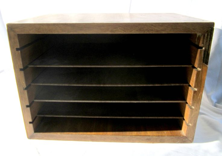 Wood File Box Divided Wood Box Storage Cube Home Office Desk Organization Rustic Industrial Decor by GoshenPickers on Etsy