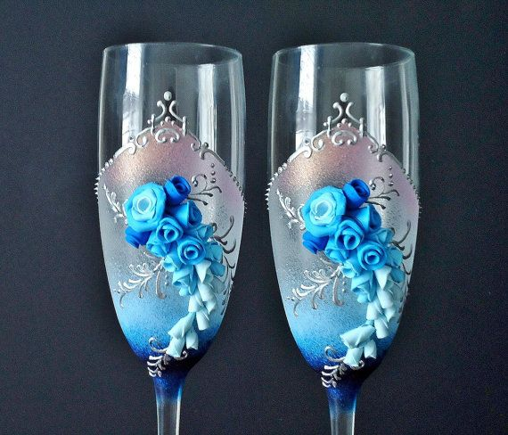 Blue Wedding Champagne Glasses Toasting Flutes от JoliefleurDeco