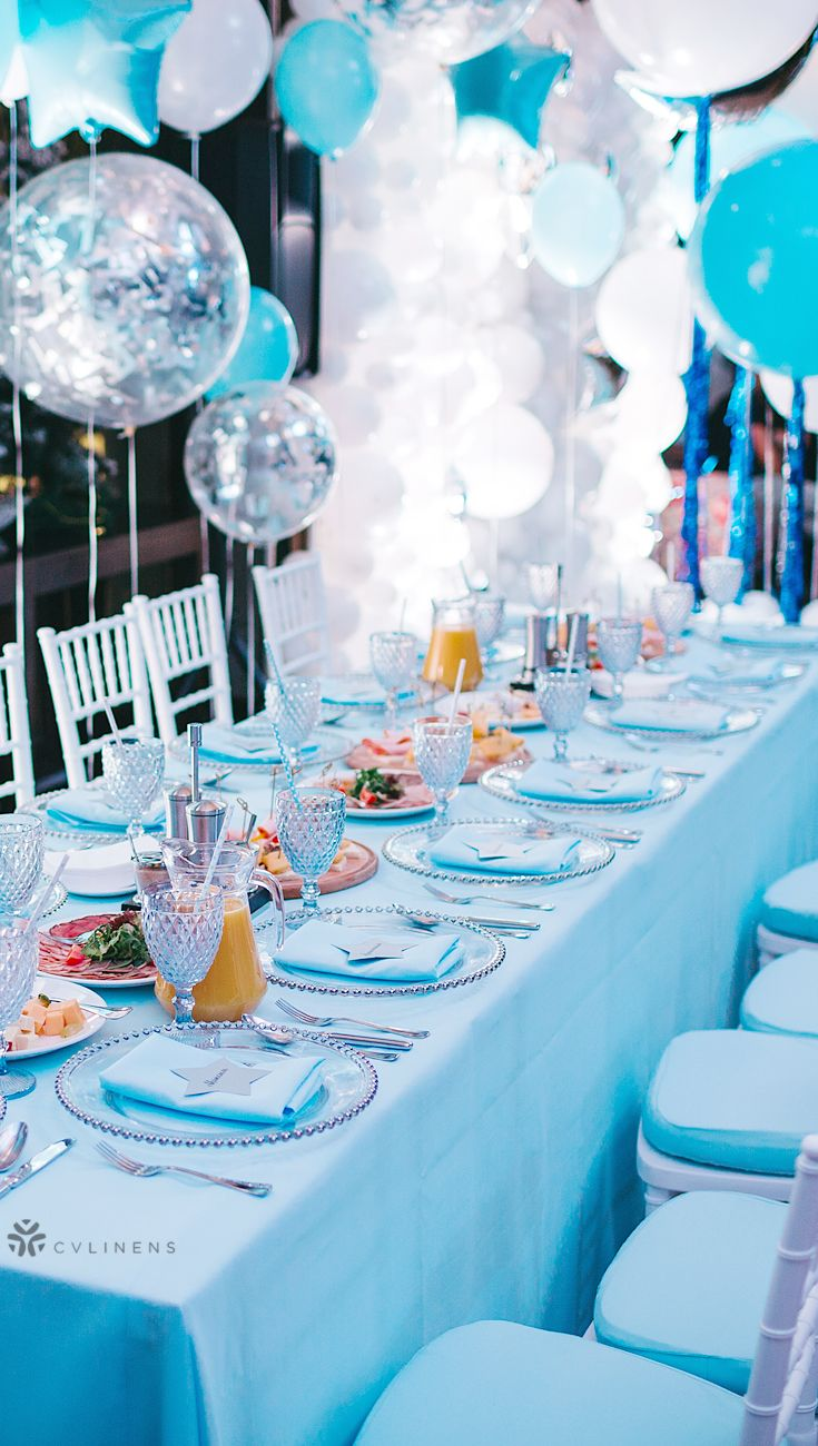 90 X132 Rectangular Oblong Polyester Tablecloth Baby Blue Baby Shower Table Decorations Baby Boy Shower Themes Unique Baby Boy Shower Favors