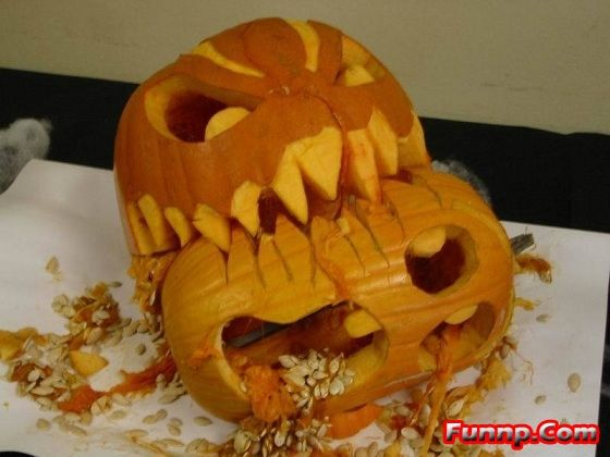 Funny Carved Pumpkin Pictures - Vomiting, Faces, Carving, Halloween