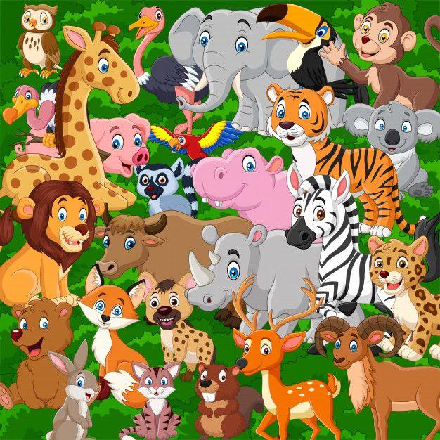Conjunto de colección de animales salvaj...   Premium Vector ...