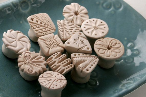 Clay Texture Stamps, For Pottery, Polymer Clay, CHOOSE YOUR PATTERN, Set of 4, Round, Square, Flower, Triangle, Personalized, Made To Order