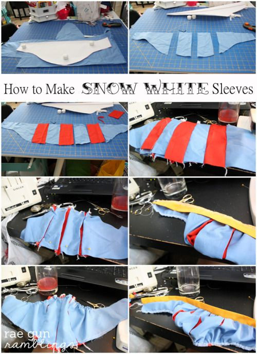 Snow White shirt tutorial! The sleeves tutorial could come in handy even if you wanted to do a more advanced, canon-accurate take on the dress, rather than this cute t-shirt take on it.   Source & Details