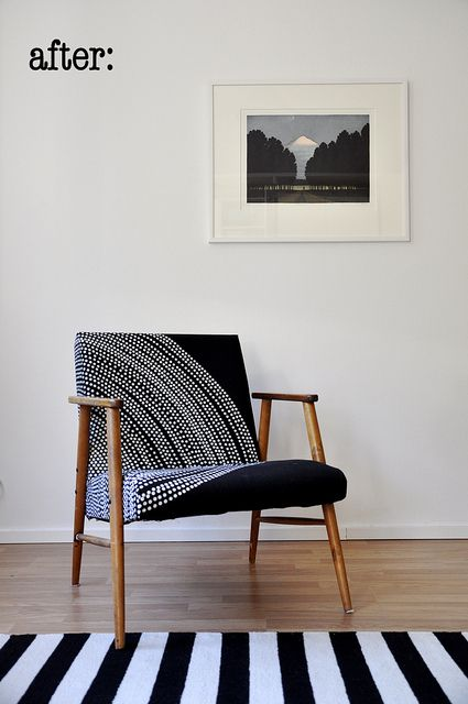 1950s chair with modern black and white Marimekko fabric