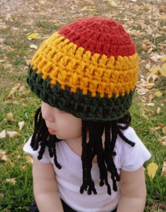 On Sale Baby Hats Rasta hat Photo Props Toddler Costume, Beanie Wig, Yellow Green Rasta, Baby Rasta Dreads, Black Dreadlocks, Baby Wig
