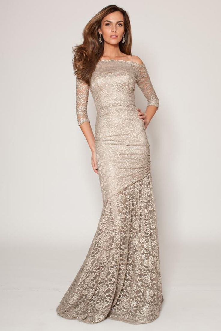Champagne long off shoulder lace dress 50921 - Catherines of Partick