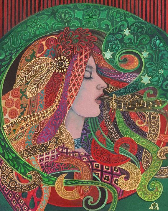 Mezzo diosa Art Nouveau música bruja 11 x 14 imprimir