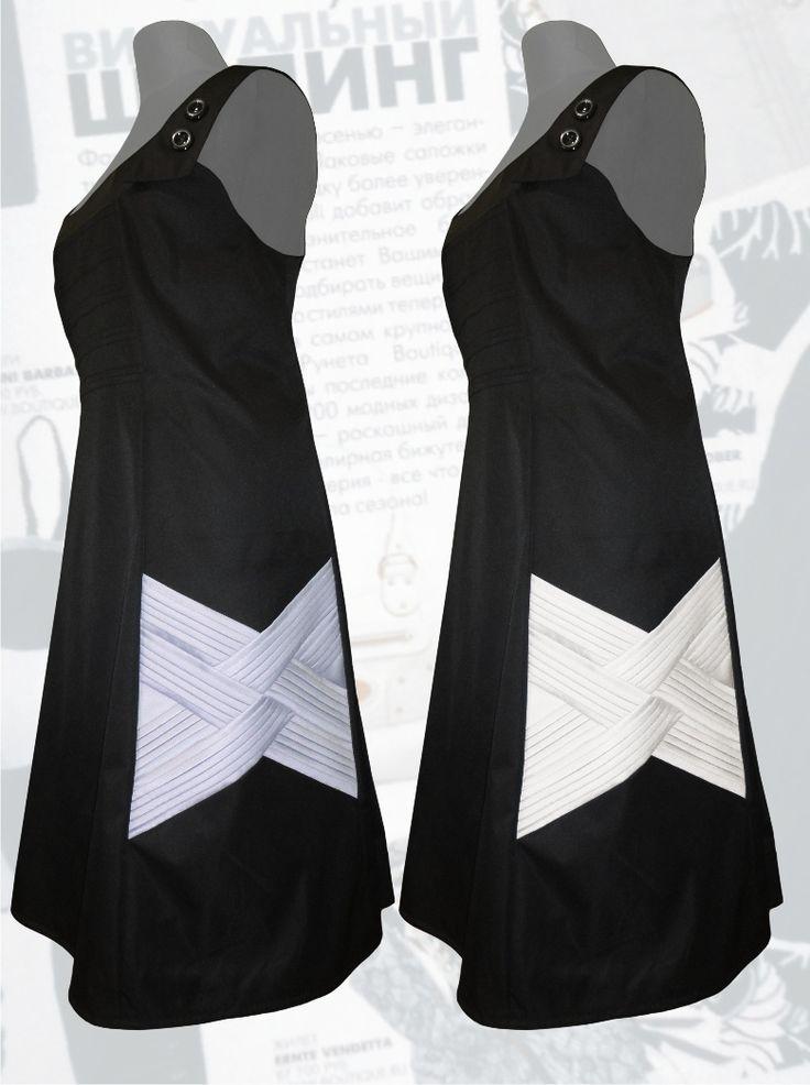 56$ Офисный сарафан черного цвета для полных женщин с интересными вставками-косичками Артикул 584, р50-64