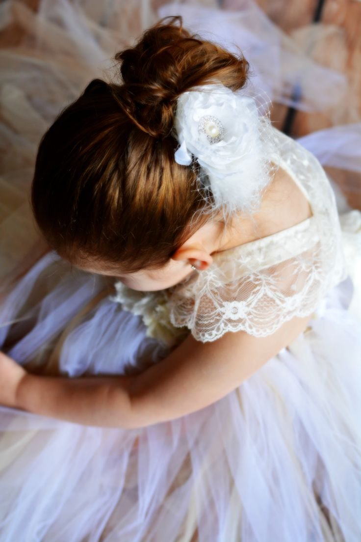Flower girl shabby chic tutu dress with lace and satin straps by TUTU Maria