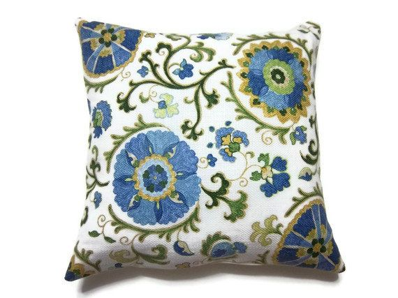 RESERVED Decorative Pillow Cover Navy Blue Powder Blue Olive Green Yellow Gold White Handmade ...