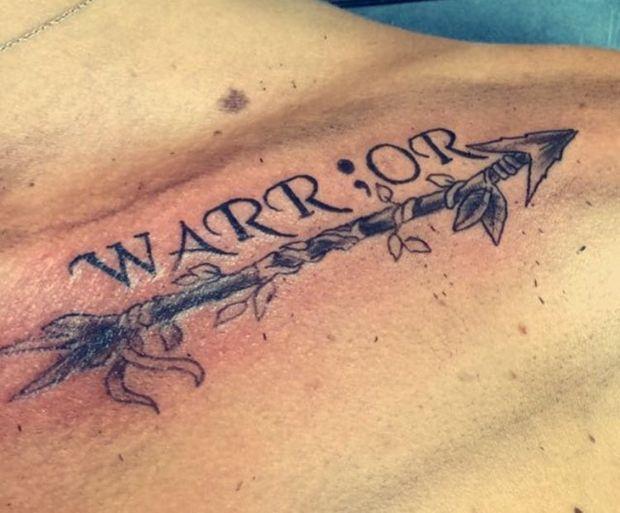 warrior semicolon collar bone tattoo male                                                                                                                                                                                 More