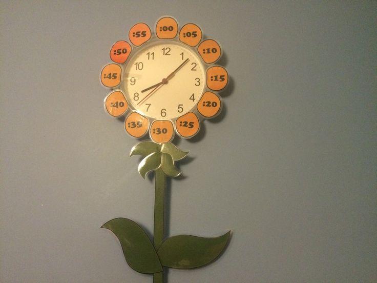 En Educa Diver hemos transformado nuestro reloj en una flor de primavera, que nos indica cuantos minutos o segundos han transcurrido desde el número 12.
