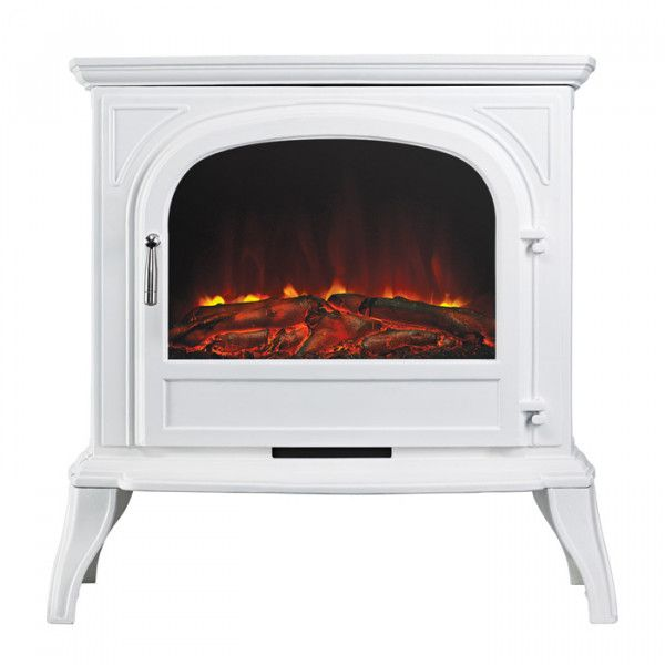 Ekofires 1250 Electric Stove In White With Plain Door