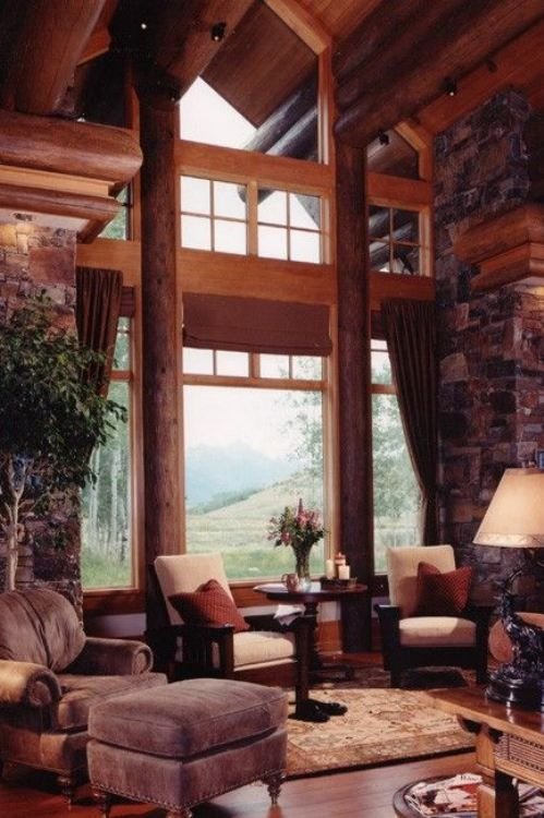 17 best images about my dream home modern rustic cabin for Windows for log cabins