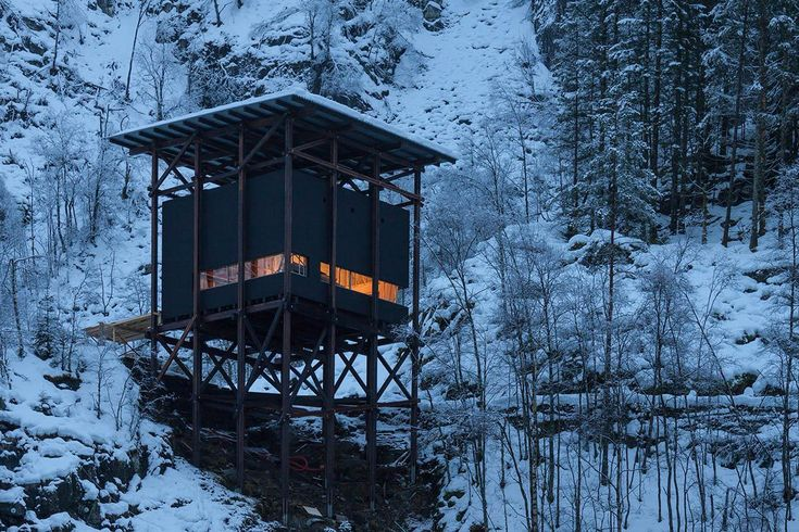 Peter Zumthor installs modest buildings erected on black-winged stilts at Norwegian old mining region