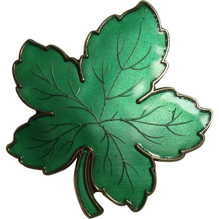 Meka Danish Sterling Enameled Maple Leaf