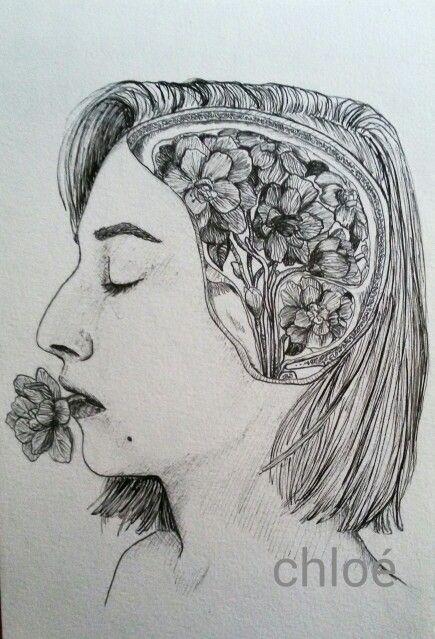 """Camelie""   #moleskine #drawing #bw #black and white #china #pen #portrait #brain #anatomy #profile #flower #girl #hair #mind #camellia"