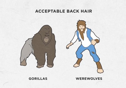 The only time back hair is acceptable, is if you're either a gorilla, or a werewolf...... Guy code.