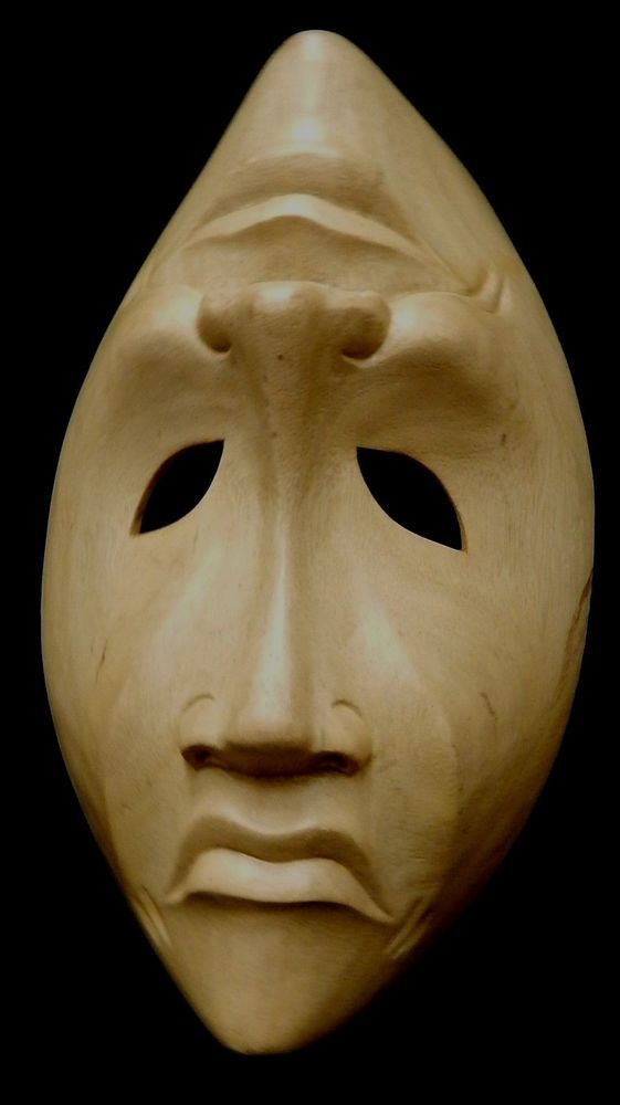 Beautiful Indonesian Wooden Masks Light Weight Smile Now, Cry Later 10 inches
